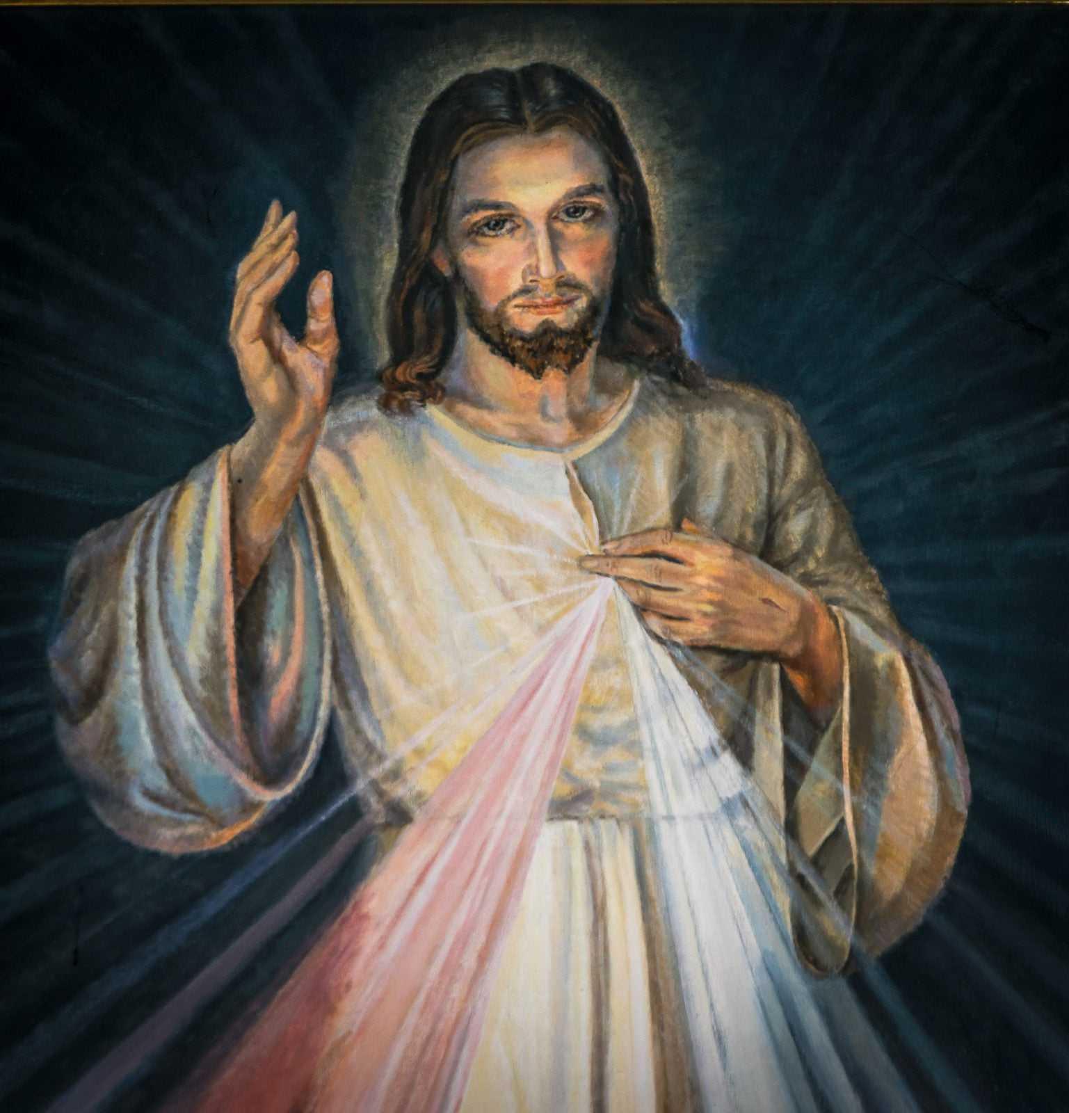Obraz Miłosierdzia Bożego w kościele w Krobi