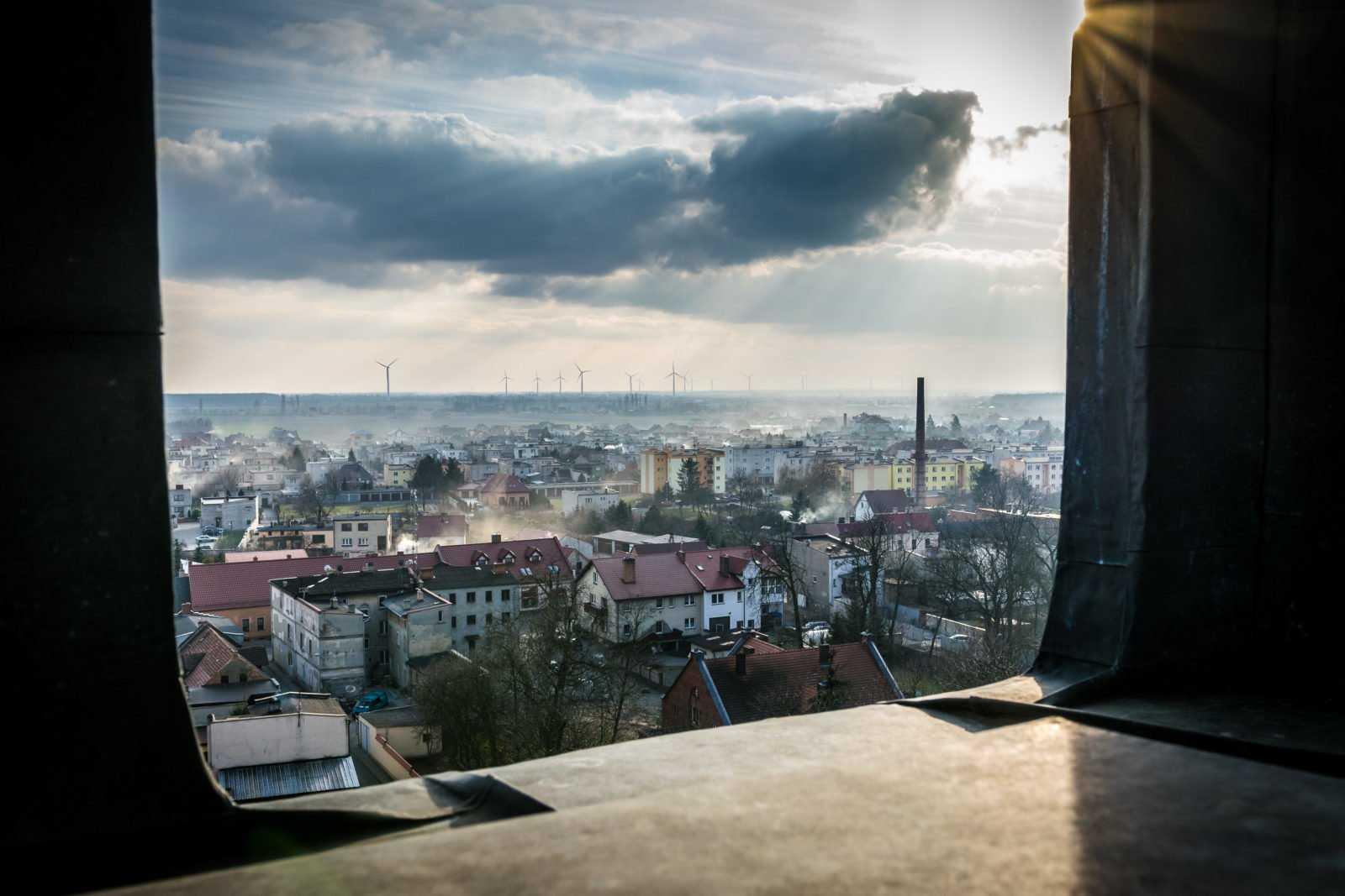 Widok z wieży kościoła św. Mikołaja w Krobi